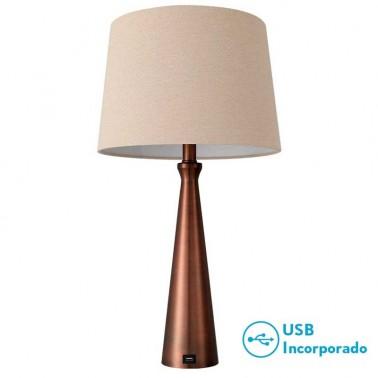 Lámpara de Sobremesa Pearl Marrón con Puerto Usb  Lámparas de sobremesa