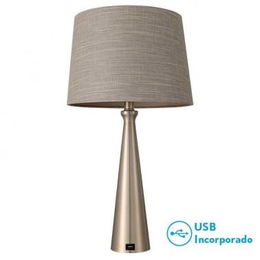 Lámpara de Sobremesa Pearl Níquel con Puerto Usb  Lámparas de sobremesa