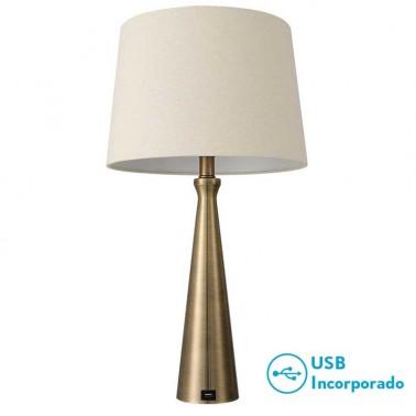 Lámpara de Sobremesa Pearl Oro con Puerto Usb  Lámparas de sobremesa