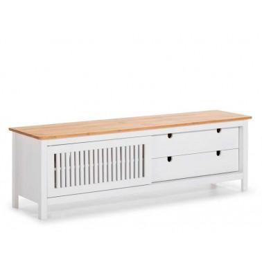 Mueble TV Blanco y Madera Natural Serie Larisa  Mesas de centro y auxiliares