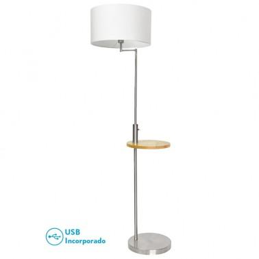 Lámpara de Pie Cromo con Mesa y USB Serie Mei  Lámparas de pie