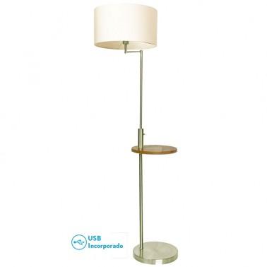 Lámpara de Pie Color Cobre con Mesa y USB Serie Mei  Lámparas de pie