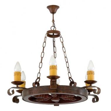 Lámpara de Techo Estilo Rústico 6 Luces Serie Rueda  Lámparas de techo