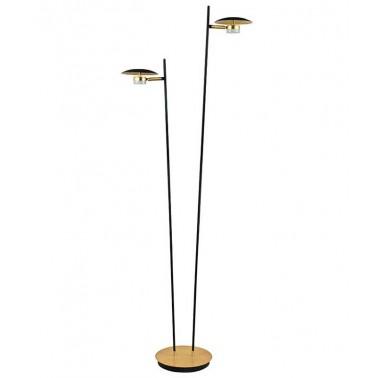 Lámpara de Pie Led Negro y Oro Serie Cabo Verde  Lámparas de pie