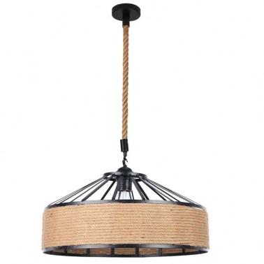 Lámpara de Techo Negra y Cuerda de Cáñamo  Lámparas de techo
