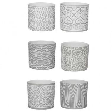 Conjunto 6 Macetas Cerámica Blanco y Gris  Ideas para regalar