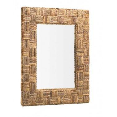 Espejo rattan diseño cuadros  Espejos