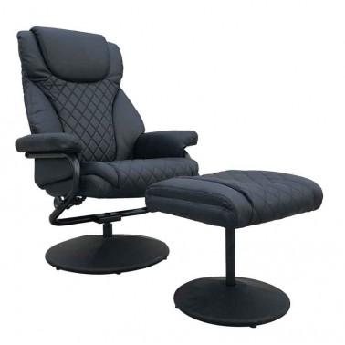 Sillón relax reclinable con reposapiés negro  Sillones