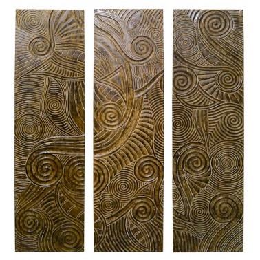 Panel Madera Tallada Diseño Espirales  Cuadros
