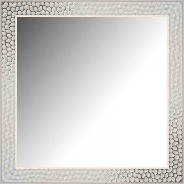 Espejo de Pared Moldura Grabada Blanco y Plata  Espejos
