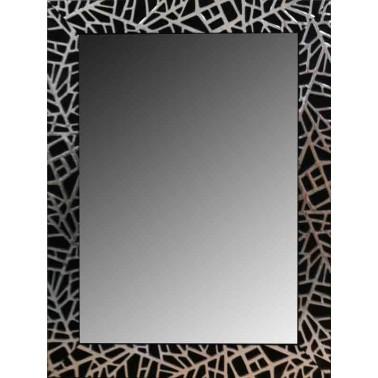 Espejo de Pared Moldura Lacada Negro y Plata  Espejos