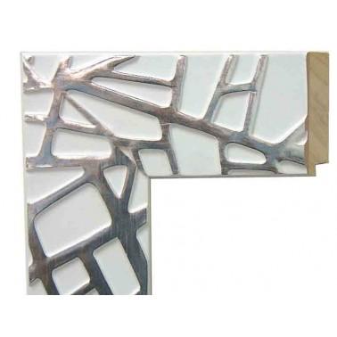 Espejo de Pared Moldura Lacada Blanco y Plata  Espejos