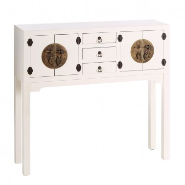 Consola Blanca 4 Puertas y 3 Cajones Colección Nipón  Muebles recibidor